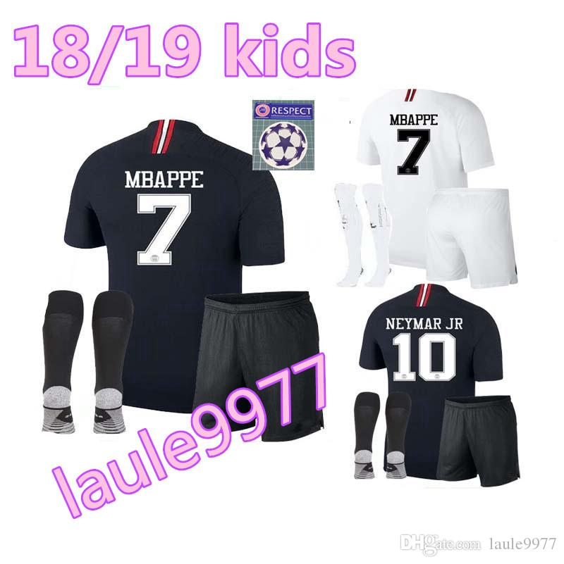 5a9d5769b0a Champions League Soccer Jersey Kids Kit 18 19 MBAPPE Black Maillot ...