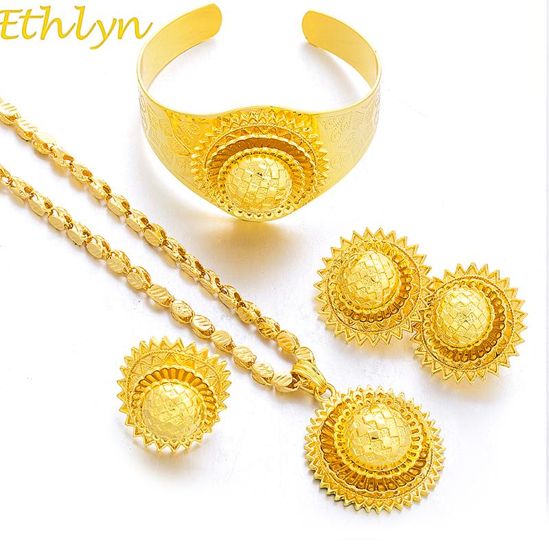 Whole Saleethlyn New Big Ethiopian Gold Color Women Jewelry Sets ...