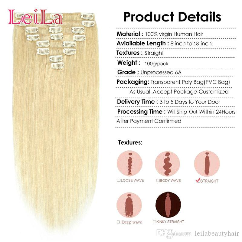 البرازيلي بيرو الهندي الماليزي 100 جرام كليب في الشعر ملحقات الشعر القوام 10-28 بوصة 8 أجزاء / وحدة مستقيم الشعر 613 #