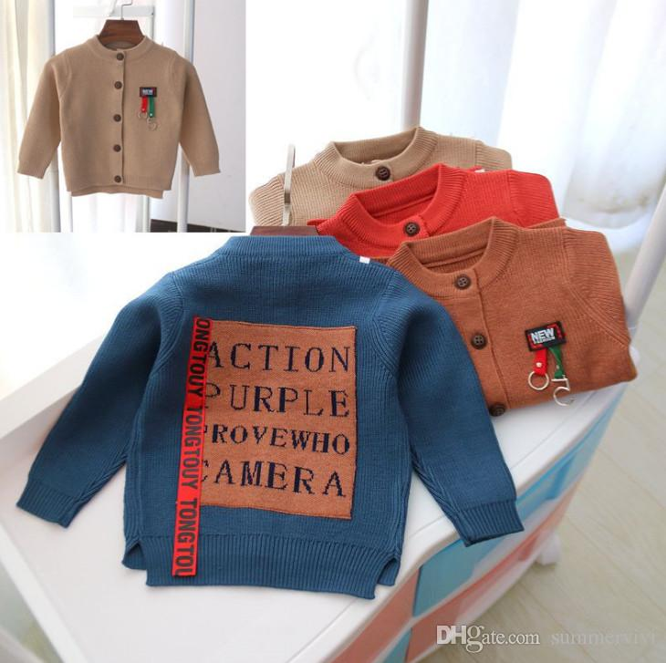 9675f1a9d Baby Kids Cardigan Boys Letter Printed Ribbon Casual Outwear ...