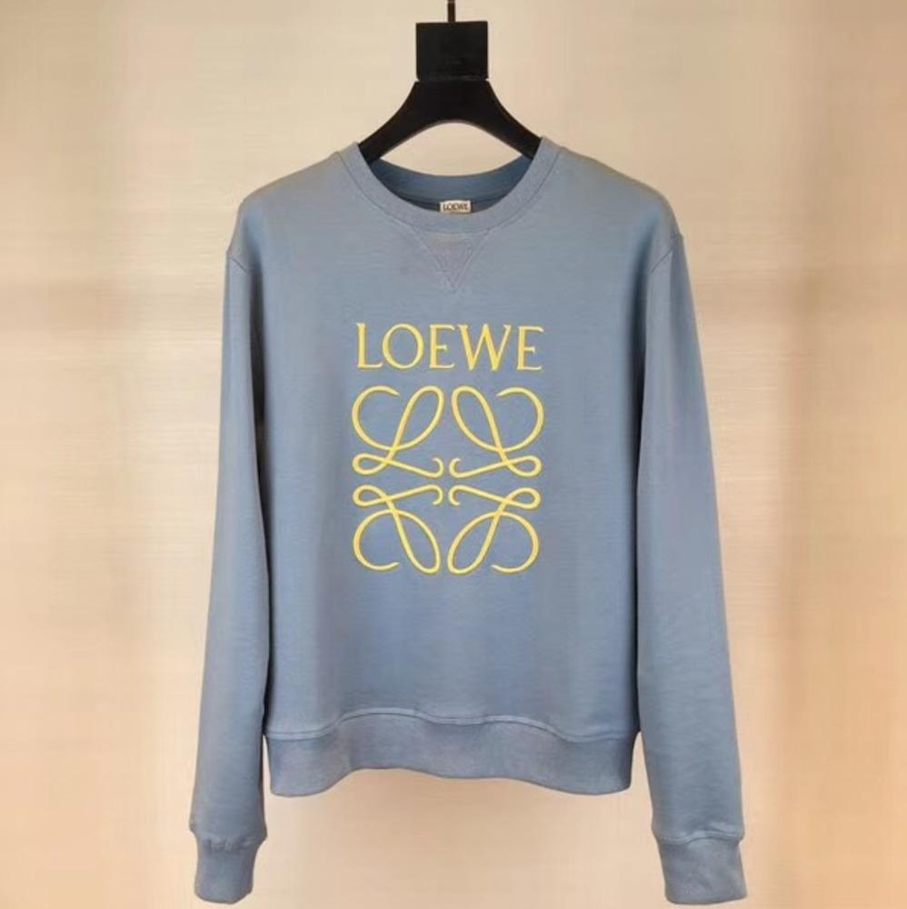 2019 18aw loewe crossword logo sweater vintage high street fashion blue comfortable loose men and women lover round neck sweater hfsswy047 from ohhyess