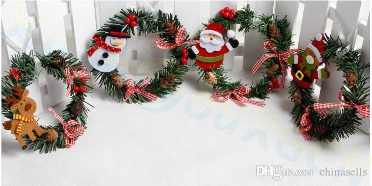 santa claus pvc small wreath window door decoration festival party wreath new year christmas ornaments decoration props christmas decorations for the house - Small Christmas Door Decorations
