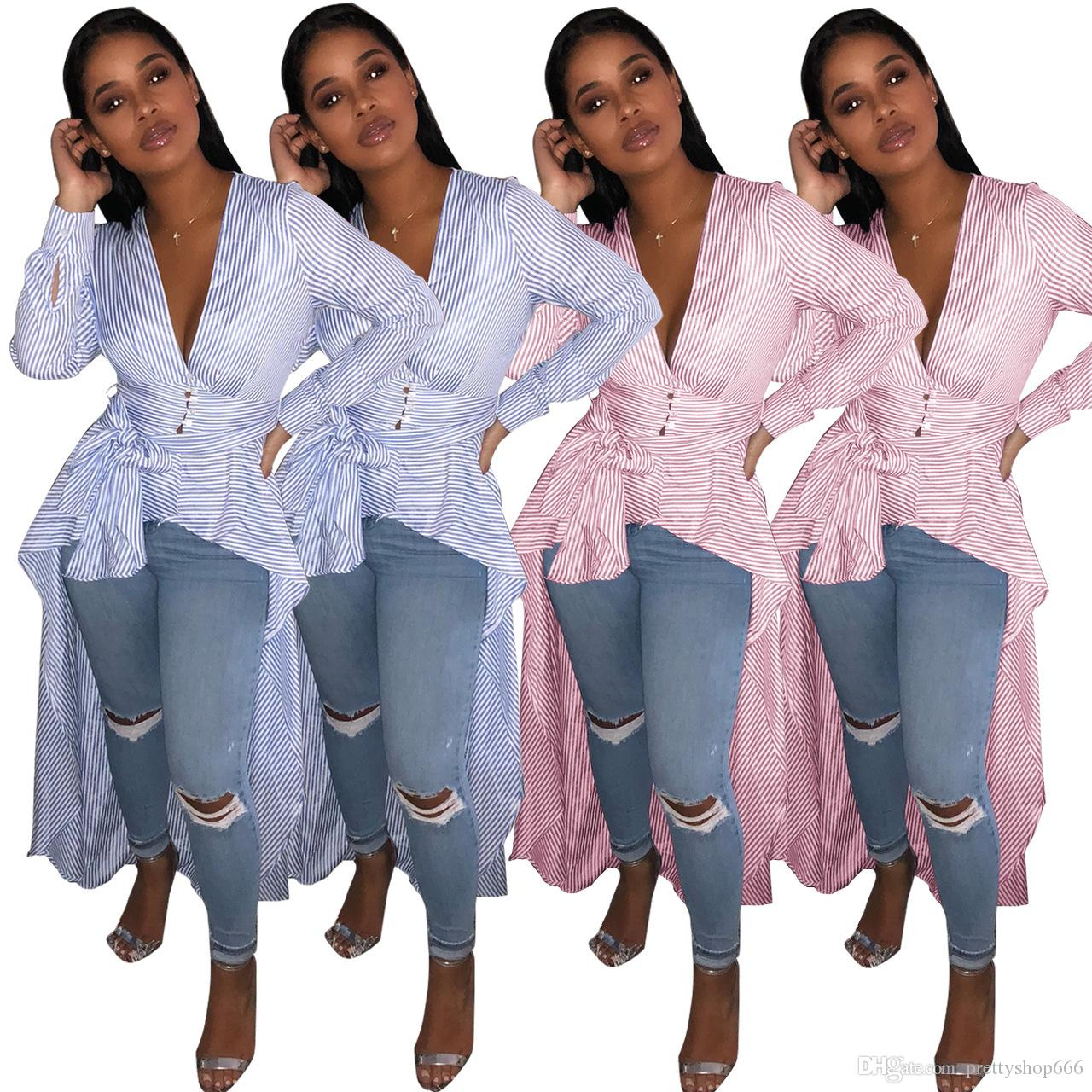 63fadba885 2018 Blue White Striped Casual T Shirts Spring V Neck Full Sleeve Front  Short Back Long Irregular Tops Lady Sashes Streetwear Tees Dress Lime Green  Dresses ...
