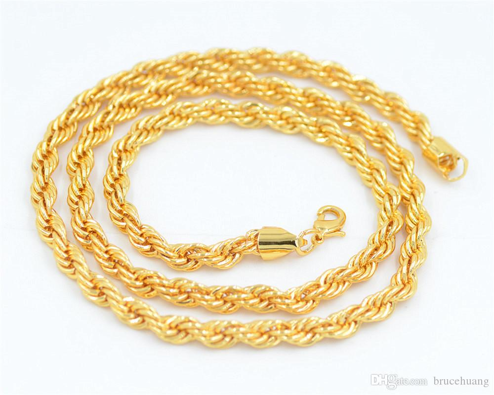 Uodesign Hiphop Mens 24K Yellow Golden French Rope Chain Necklace 75cm Long Hip Hop Necklace