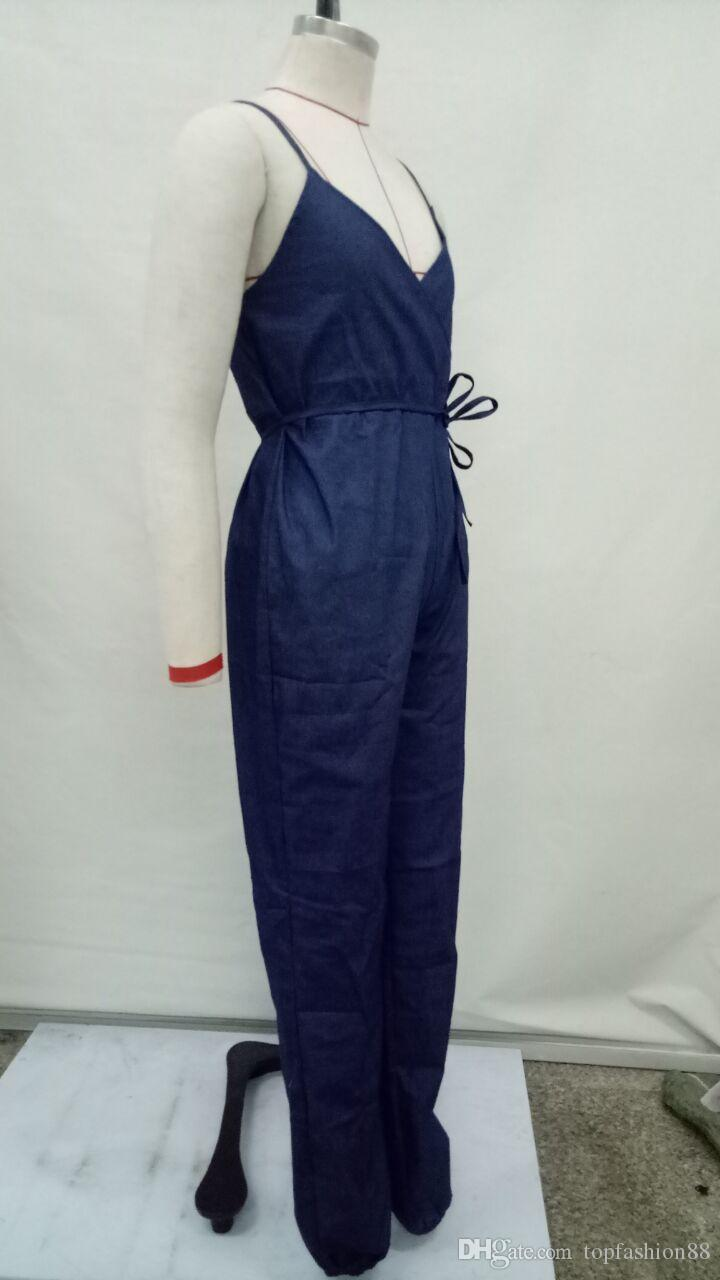 Mulheres Sexy Strap Backless Skinny Macacão Jeans Macacões Plus Size Moda Sem Mangas Bodycon Bandage Uma Peça Jeans Para Feminino