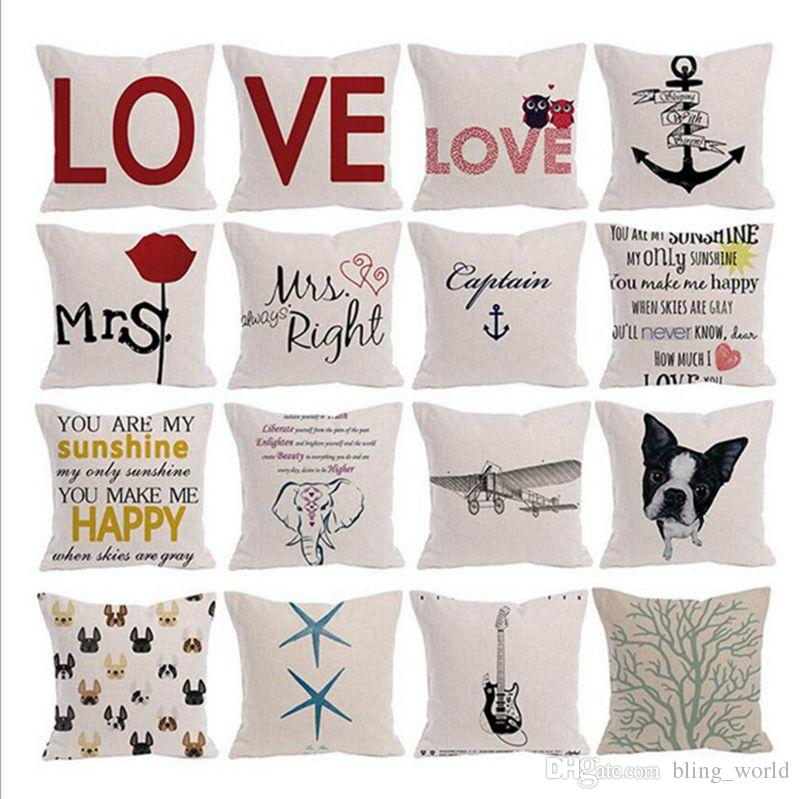 Letter Pillow Cases Linen Square Cushion Cover Love Printing Sofa Magnificent Pillow Case Covers For Throw Pillows