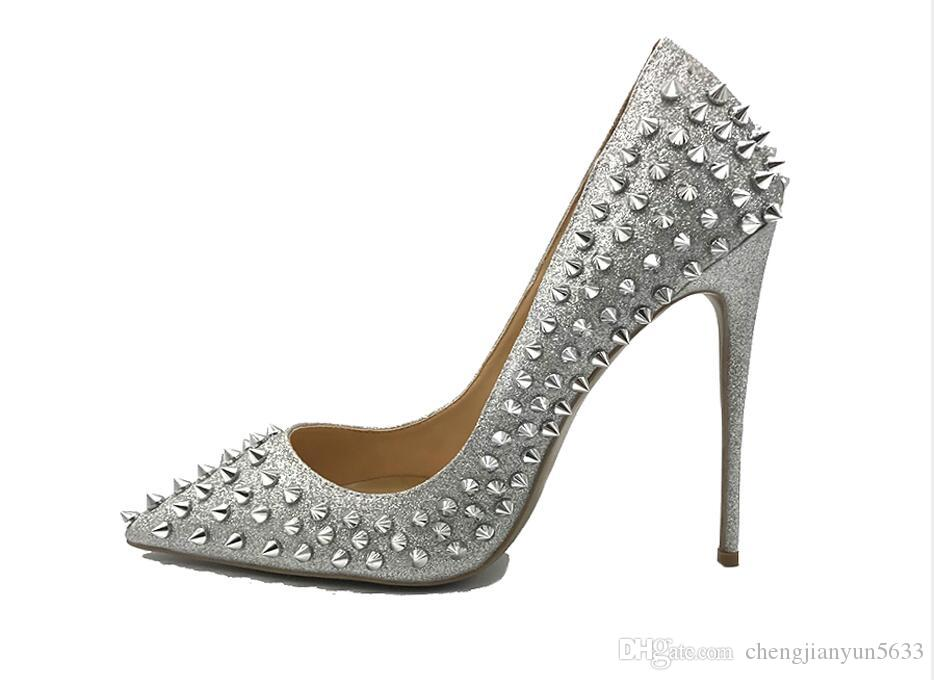 New Fashion Gold Silver Glitter Spikes Heels 12cm Ladies Lady Sexy Pointed  Toe Rivets Spiked High Heeled Wedding Shoes Women Oxford Shoes Ladies Shoes  From ... c20684dc4fa1