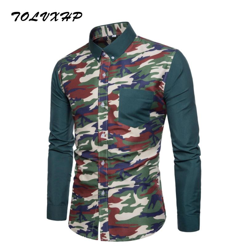 e4400f9df140 2019 New Brand Clothing 2018 Fashion Shirt Male Camo Splicing Dress Shirts  Slim Turn Down Men Long Sleeve Mens Linen Hawaiian Shirt From Octavi, ...