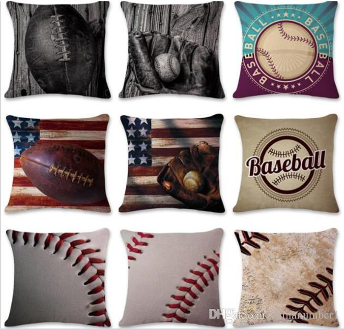 Superbe Baseball Football Pillow Case Cotton Linen Square Cushion Cover Sofa Car Livingroom  Bedroom Pillow Covers C215 Outdoor Patio Pillows Large Outdoor Pillows ...