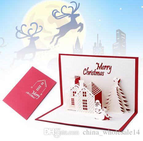 Nice Christmas Cards 3D Pop Up Merry Series Handmade Custom Greeting Gifts Souvenirs Postcards Free Animated