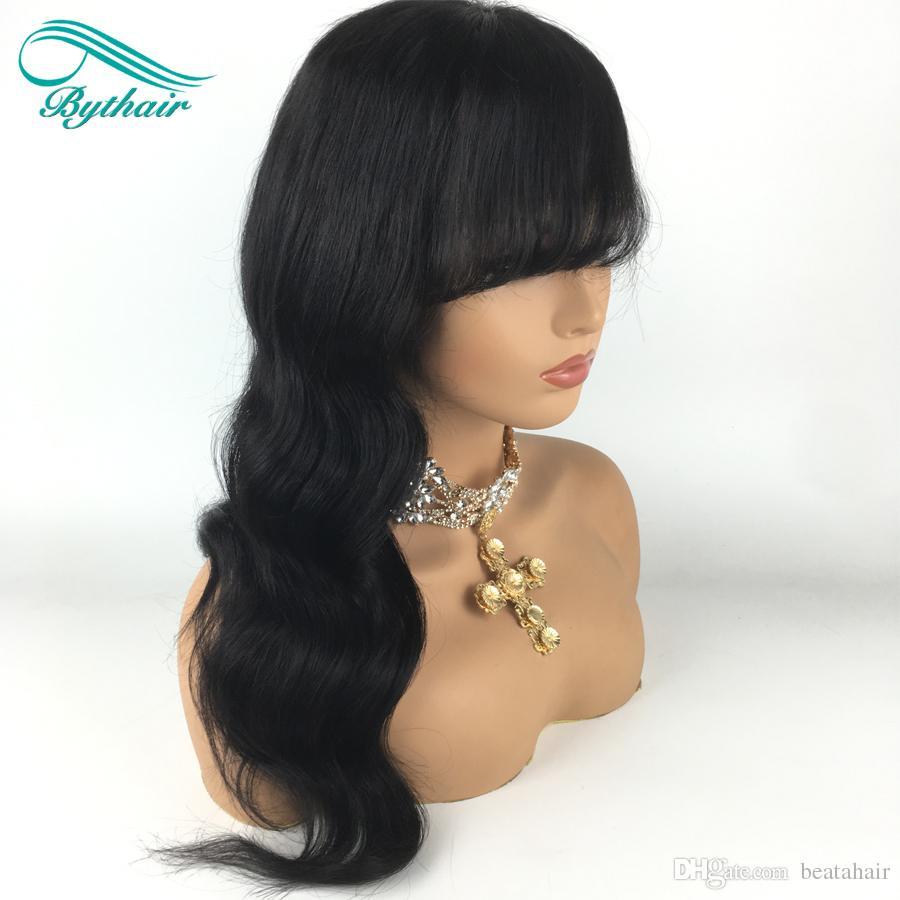 Onda Natural Brasileiro virgem do cabelo rendas frente perucas com franja curta bob ondulado do cabelo humano do laço completo perucas de cabelo humano para as mulheres negras