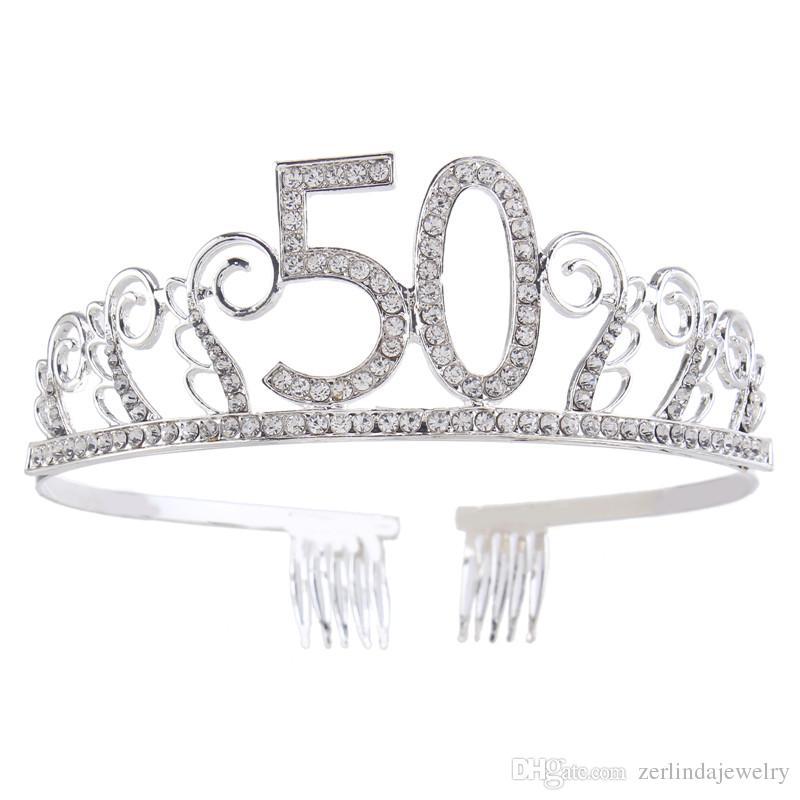 Acquista Tiara Di Cristallo Compleanno Corona Principessa Corona Accessori Capelli  Argento Diamante Buon Compleanno 50 50 Nascita A  12.06 Dal ... 6ffce537a5b5