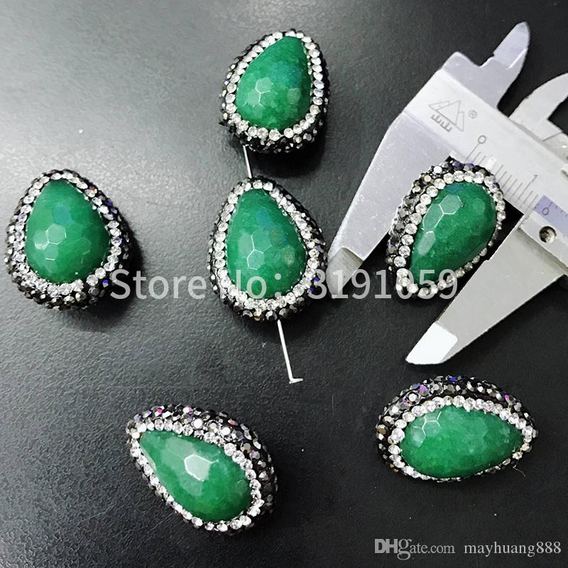 Green water droplet shape beads fashionable elegant personality and graceful style necklace bracelet pendant chain