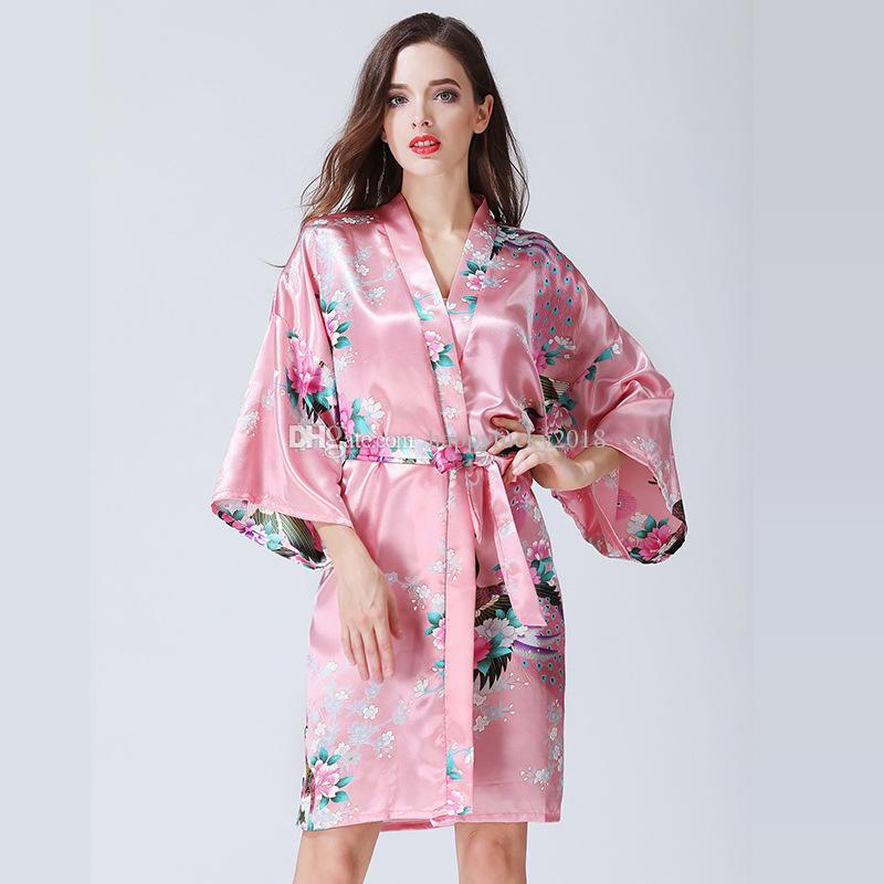Twelve Colors Short And Long European And American Style Sexy Women s Silk  Pajamas Cardigan Robe Bathrobe Home Printing Nightdress Women s Sexy  Pajamas ... 7ab292082