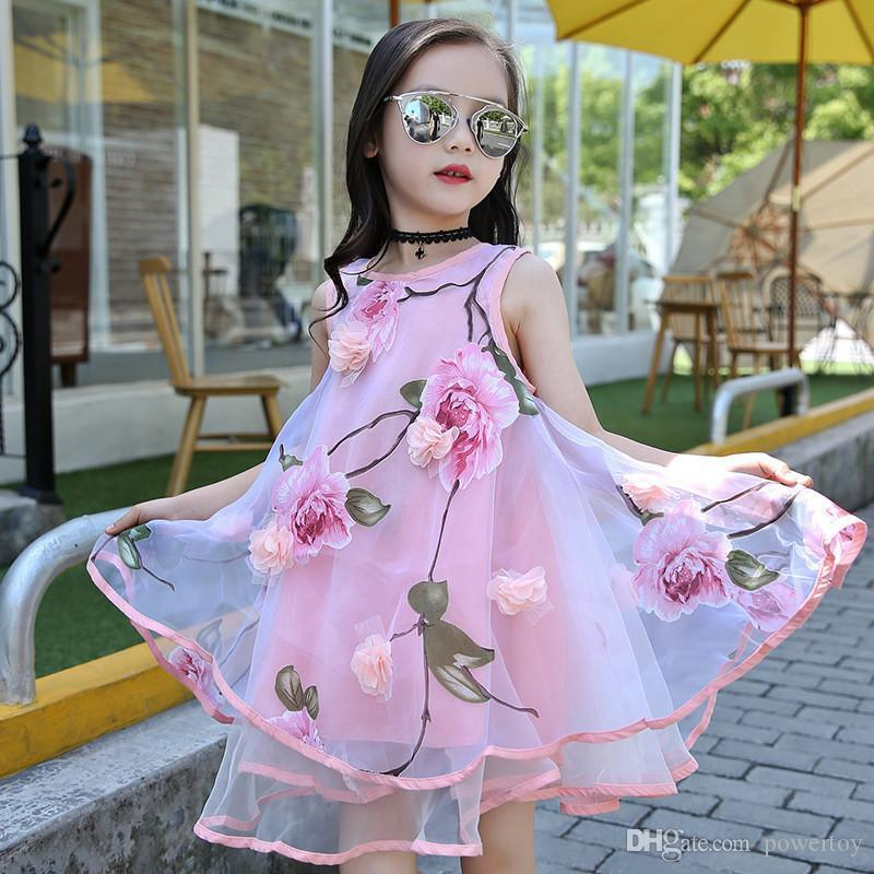 6c458cdd3f1 2019 Flower Girls Dress Summer Style Toddlers Teen Children Princess  Clothing Fashion Kids Party Clothes Sleeveless Dresses For Girls From  Powertoy