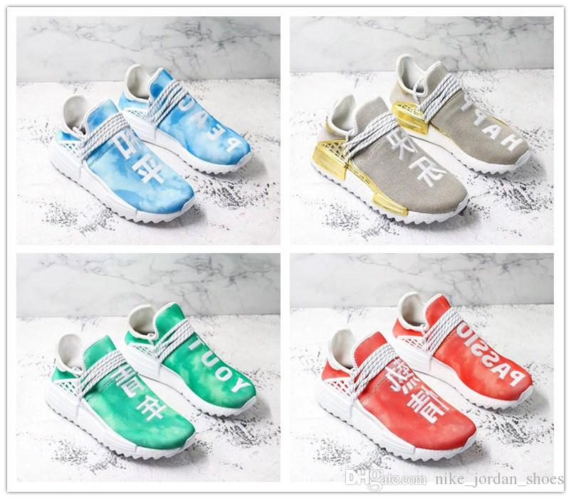 official photos 0ff40 16595 Pharrell x NMD Human Race China Exclusive Collection men Outdoor Shoes  Sports Sneaker Gold Happy Blue Peace Green Youth Red Passion shoes