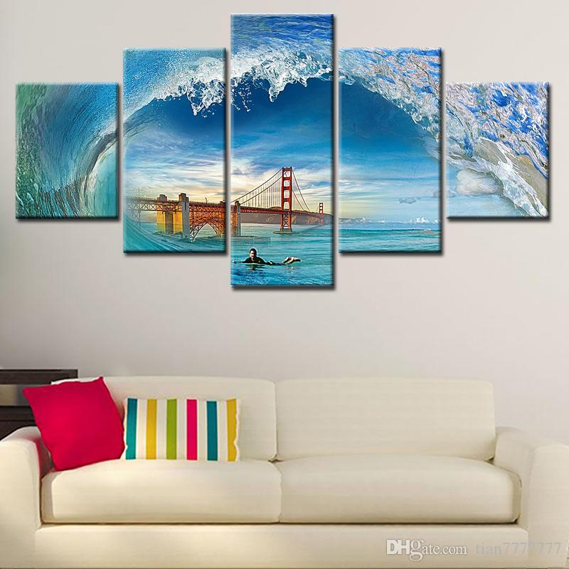 5 Pieces Seascape Sea Wave Canvas Painting Unframed Bridge Man Swimming Art Painting Home Wall Decoration Print Poster Picture