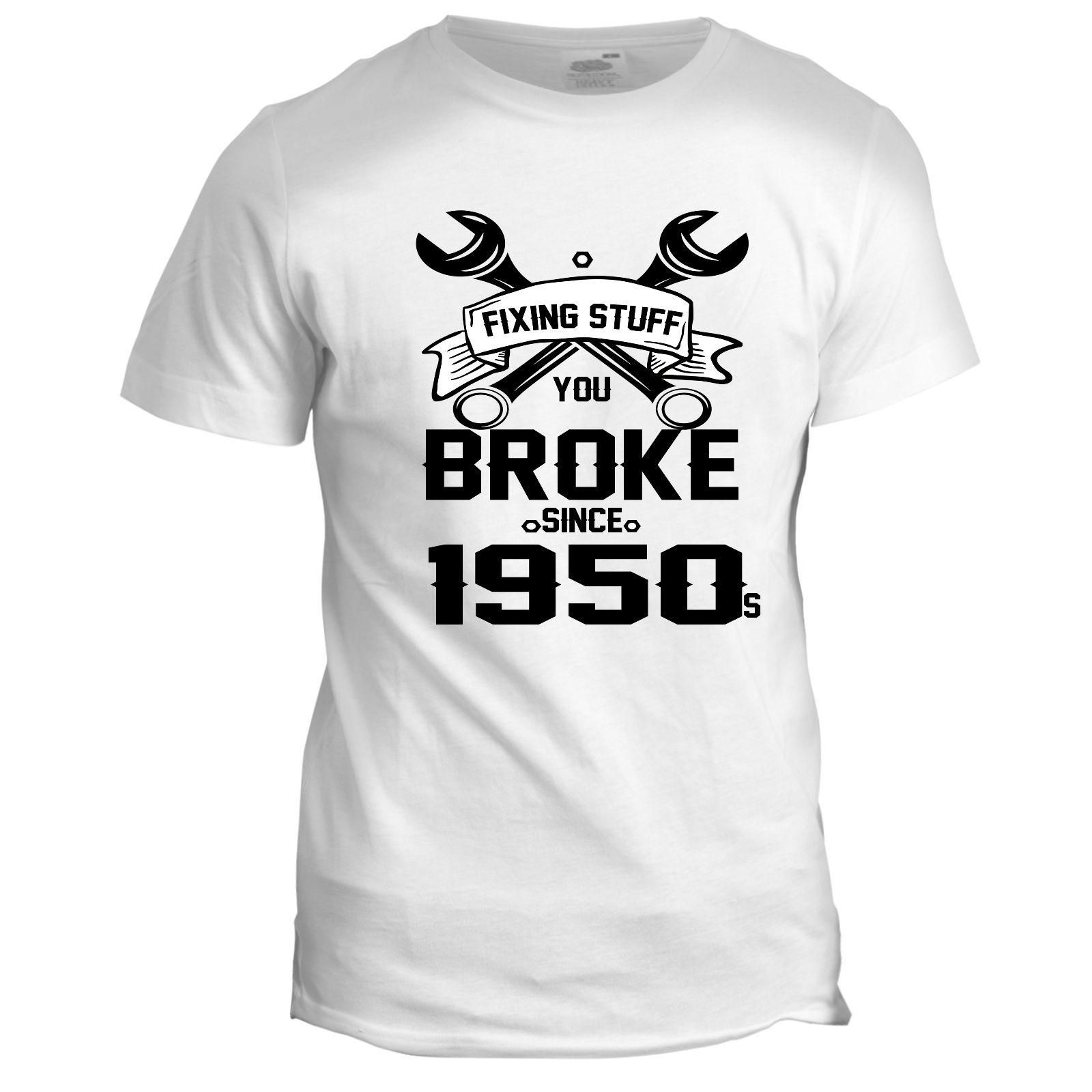 Fixing Stuff Dad Mens Father Grandad Birthday DIY Gift Present 50s T Shirt Cool Casual Pride T Shirt Men Unisex New Fashion Tshirt Cool Funny Shirts One Day ...