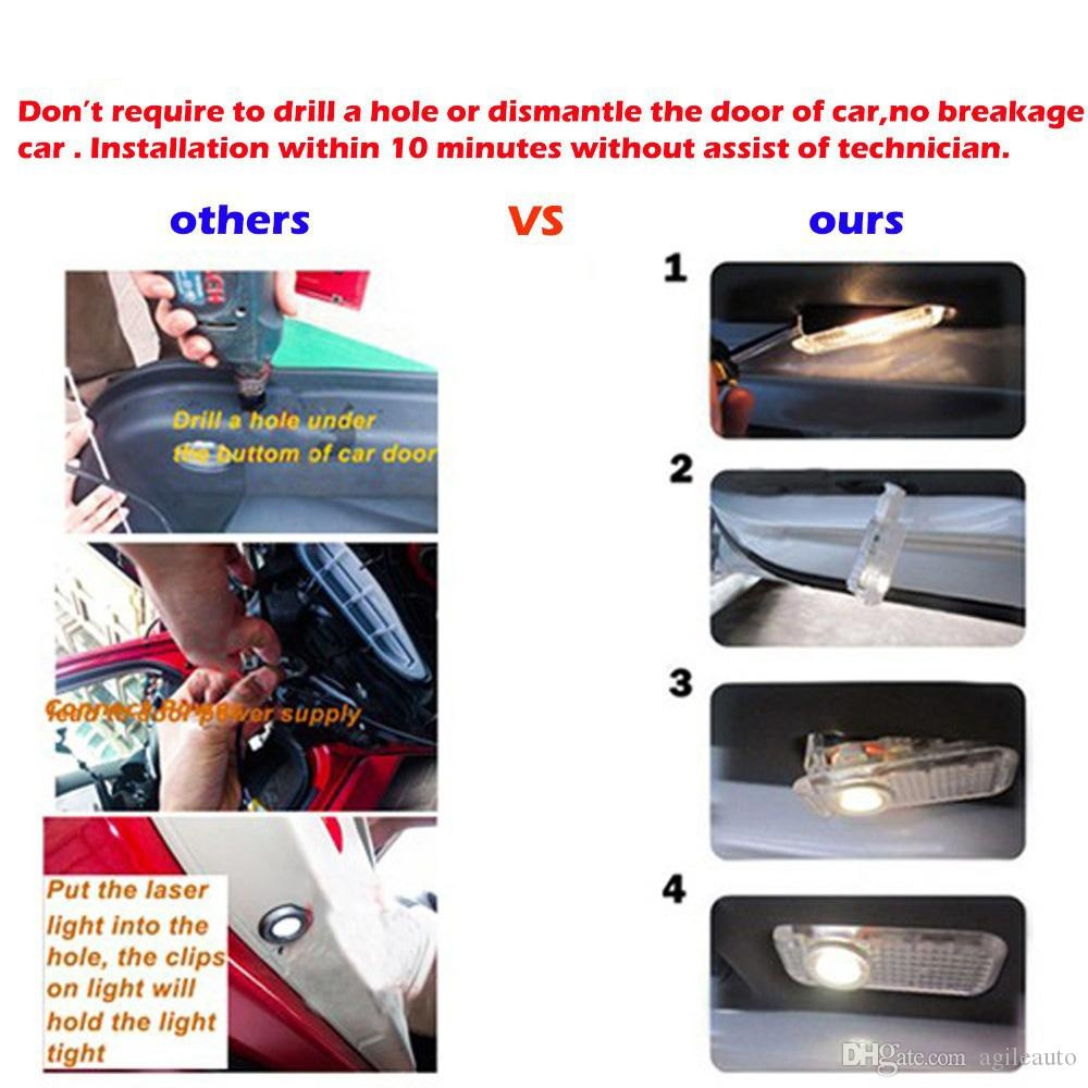 Wholesale LED Vehicel Welcome Courtesy Laser Light Projector Logo Ghost Shadow Lamp for Audi Car Door CLT_06A