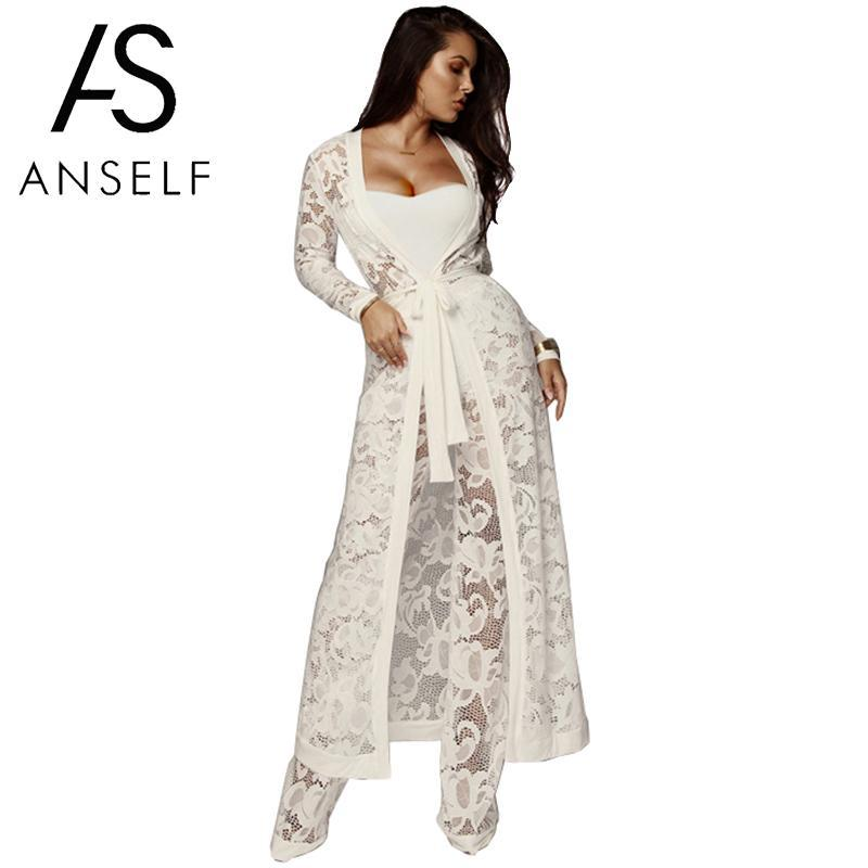 3e45ce5779 2019 Anself Sexy Women Lace Three Piece Set Strapless Tank Top Sheer Wide  Leg Pants Kimino Cardigan Solid Suits Outfits White Black From Manxinxin