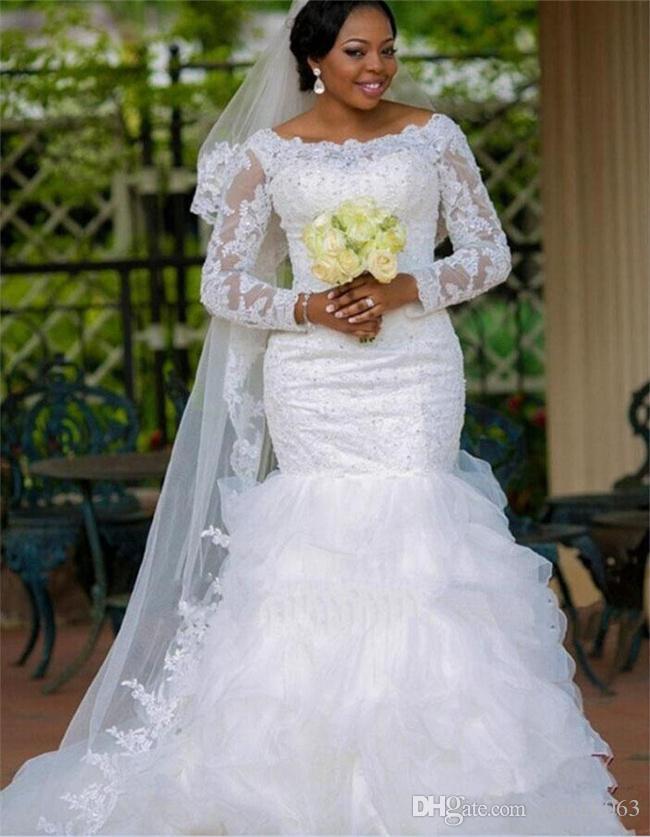 Robes De Mariée Sirène Dentelle Taille Plus Taille Avec Manches Longues Robes De Mariée En Organza Blanc Volants Robes De Mariée Africaine