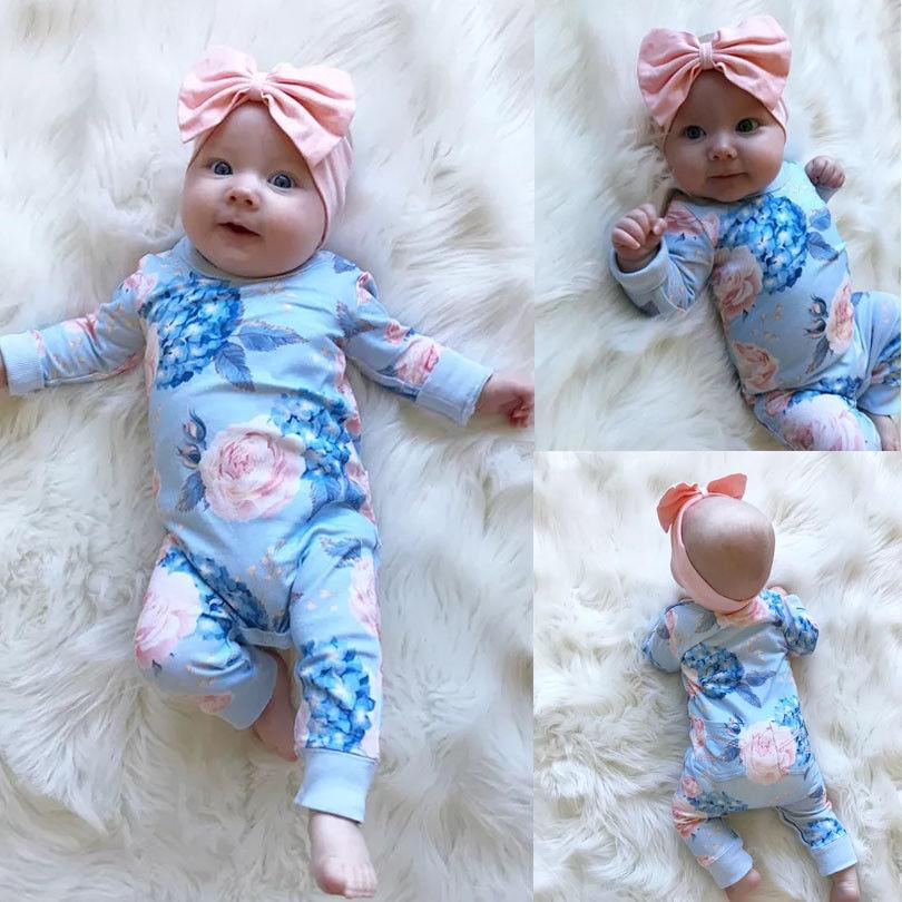 c83b41b16347 2019 Fashion Floral Newborn Baby Girl Romper Jumpsuit Playsuit Outfit  Clothes Set From Humom