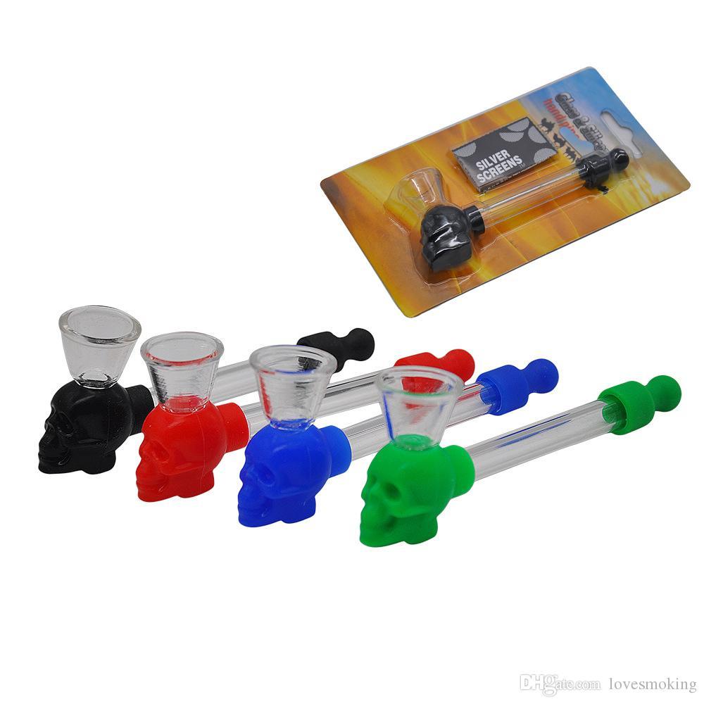 Silikon Schädel Glasrohr Ölbrenner für Dab Rigs Mini Handpfeife Rauchen Glasrohr Zigarette Wasserrohr mit Bildschirm Einzelhandel Verpackung W08C