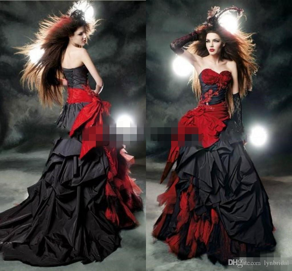 Black And Red Gothic Wedding Dresses 2017 Vintage Court Style ...