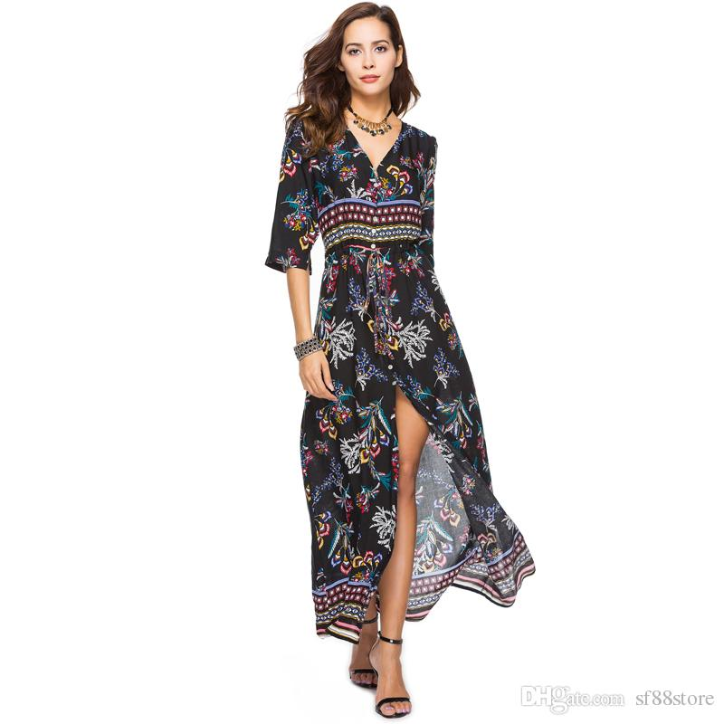 910d6254aaf Women Boho Chic Floral Party V Neck Long Dress Bohemian Beach Loose Tunic  Fashion Vestidos 2018 Summer Plus Size 3xl 4xl 5xl Dress Pants Nice Dresses  From ...