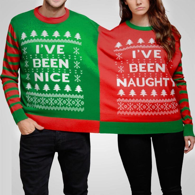 d12e6f4449442 2019 FEITONG 2018 Bts BF New Imaginative Dropshipping Xmas Naughty & Nice  Double Christmas Jumper Sweatshirt Twin 2 Top Xmas Twosie