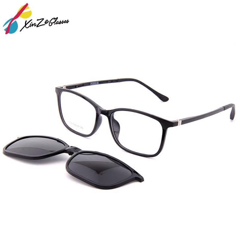 872202f0c7 Compre XINZE Nuevas Gafas De Sol Con Clip Magnético En Lentes Para Hombres  Y Mujeres Con Juego De Imanes Con Espejo Miopía Óptica Gafas Graduadas A  $32.14 ...