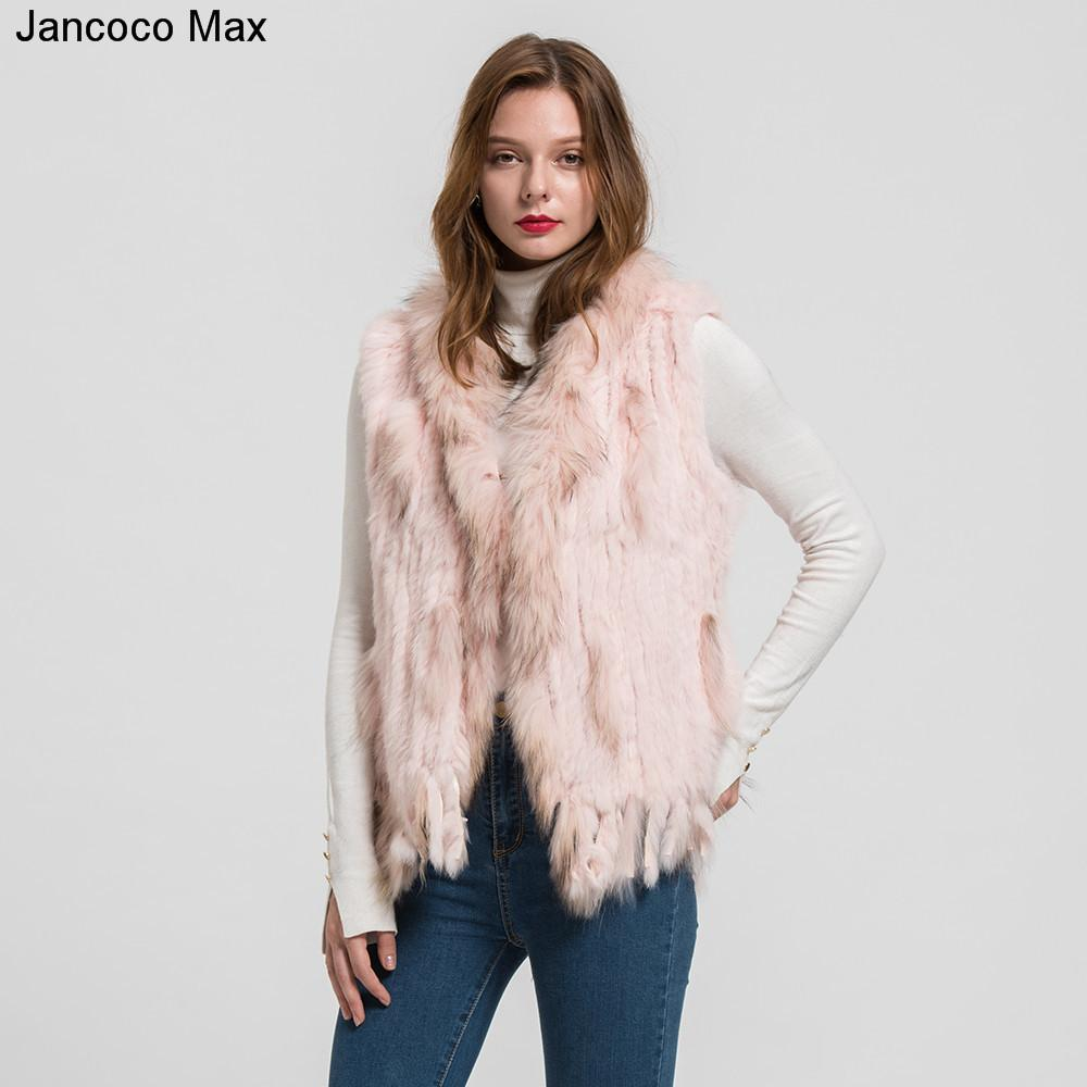 Jancoco Max 2018 New Lady Real Rabbit Vera Gilet di pelliccia Raccoon Fur Collar Donna Inverno Moda Gilet Gilet Ladies Coat S1700 S18101102
