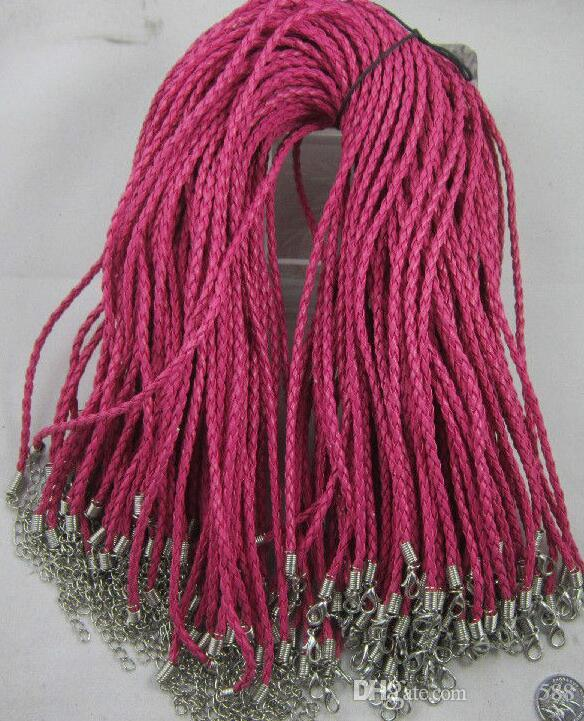 100 unids Color Mezclado Tejer Filamentos de Cuero Collares Cuerdas Mujeres Cuerdas Gargantilla Collar Colgante fit beads DIY Fabricación de Accesorios de La Joyería nueva