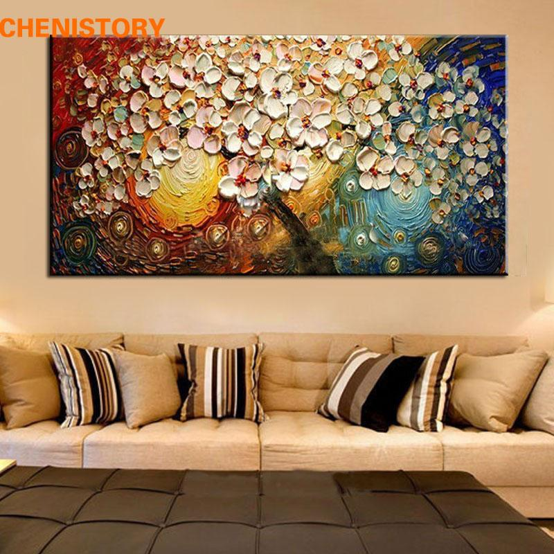 Unframed handpainted canvas wall art abstract painting modern acrylic flowers palette knife oil painting for home decoration painting with knives knife