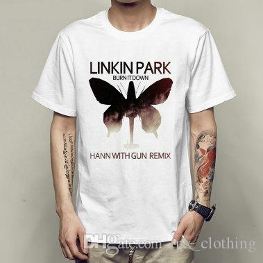 Hann with gun remix t shirt Linkin park short sleeve gown Rock band tees  Unisex clothing Quality modal Tshirt