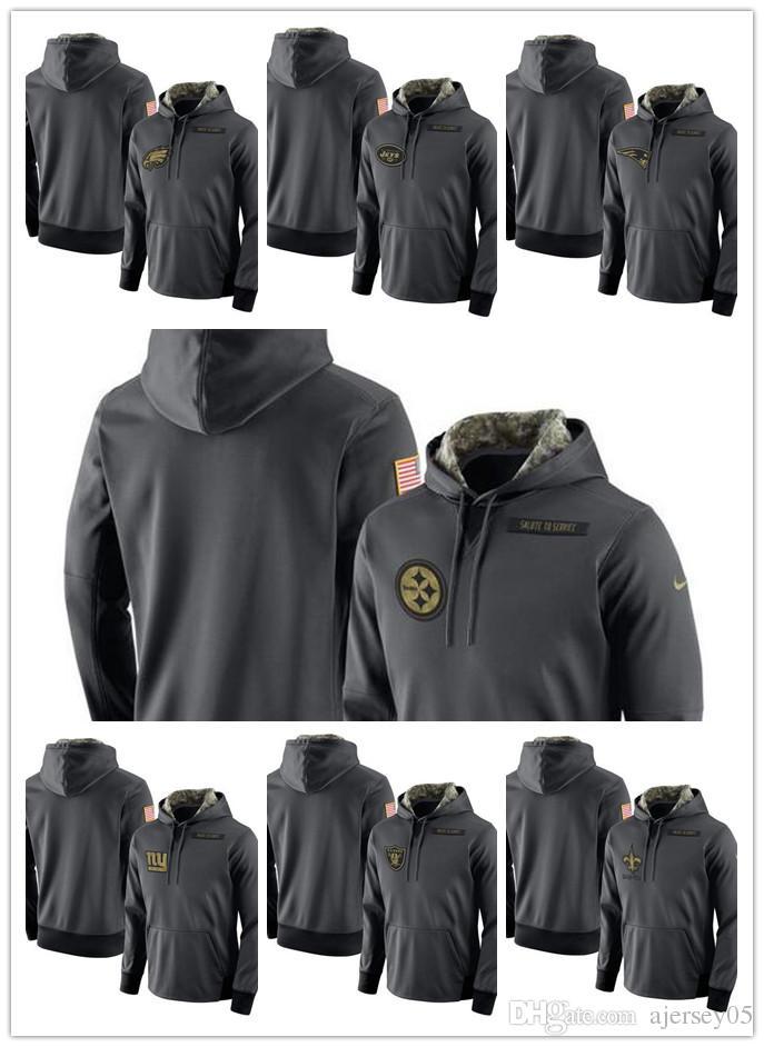 new styles 37015 4ca99 2018 Men 4 Promotion Saints Giants Jets Raiders Eagles Steelers Salute  Service Player Performance Hoodie Men's Sweatshirt Anthracite