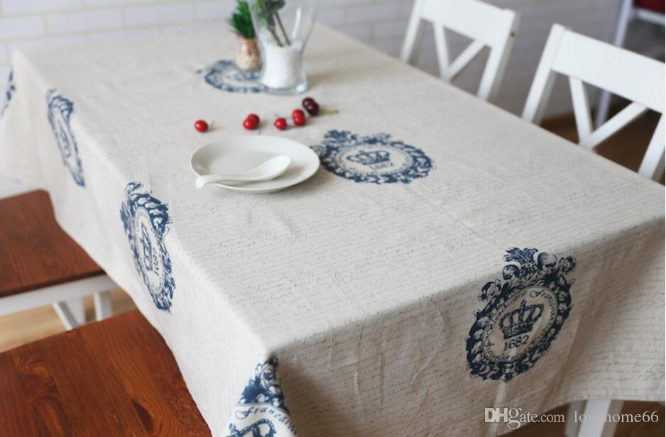 Rectangular Cotton Linen Tablecloth crown Vintage Rectangle Dinner Picnic Table Cloth Home Decoration