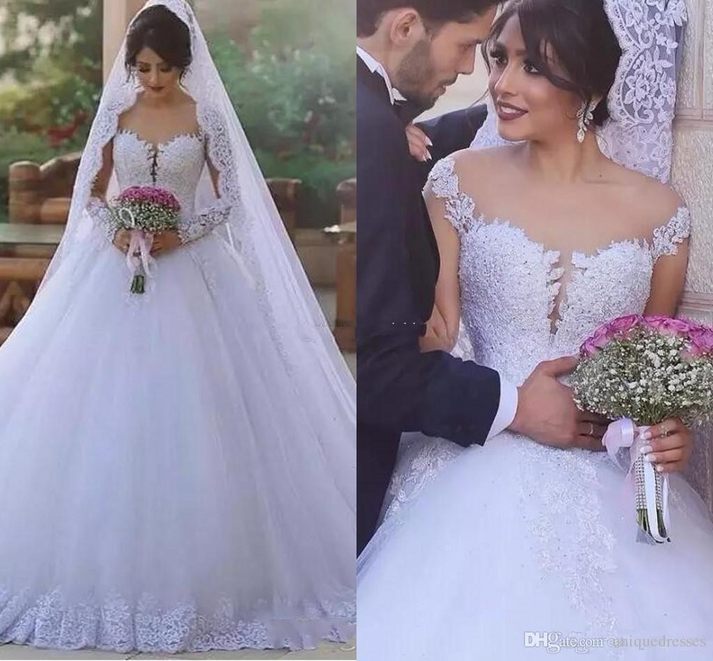 Ballroom Gown Wedding Dresses: Vintage Long Sleeves Ball Gown Wedding Dresses 2018 Off
