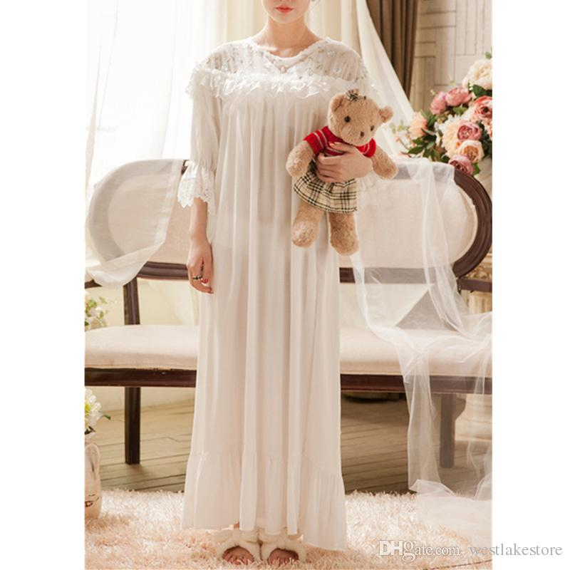 cea44ede467a Victorian Sleepwear Vintage Nightgown Embroidery Lace Slash 3 4 ...
