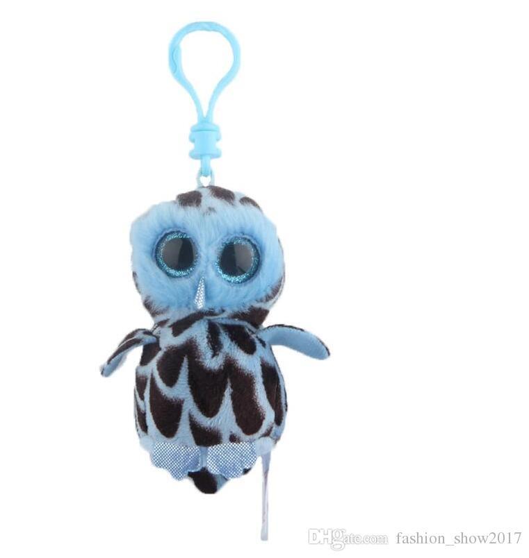 Keychain 4inch 10CM Stuffed Animals Plush Toy White Toy Beanie Boos Marcel TWIGGY Pink Owl Fantasia Sammy Pippie Dog