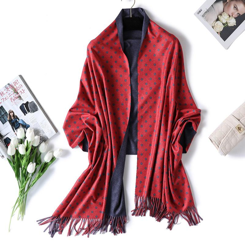 40f662f12 New Double Double Color Imitation Cashmere Scarf Female Fashion Wave Point  Tassel Big Hair Thickening Warm Scarf Shawl Scarf Scarves From Ekkk, ...