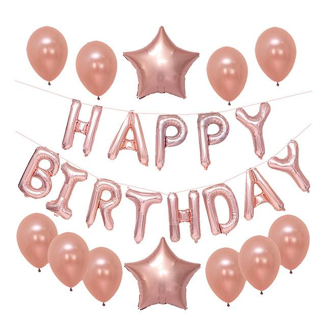 2019 gold black happy birthday balloons banner rose gold foil