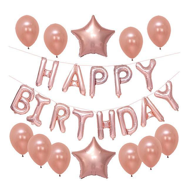 Grosshandel Gold Schwarz Alles Gute Zum Geburtstag Ballons Banner Rose Folienballons Fur Erwachsene Geburtstagsparty Dekorationen Lieferungen Von
