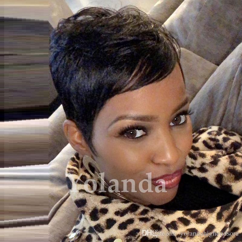 100 Human Real Hair Longer Pixie Cuts Wig Short Cut Layered Wigs