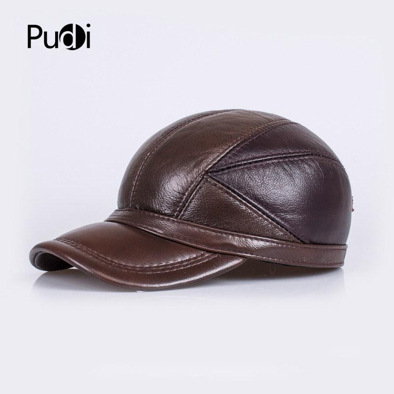 4e41363bc1dc7 HL030 Winter Genuine Sheepskin Leather Hat Brand New Mens Warm Earmuffs Hat  Man Baseball Cap Hat Cheap Snapback Hats Hats Online From Pudi