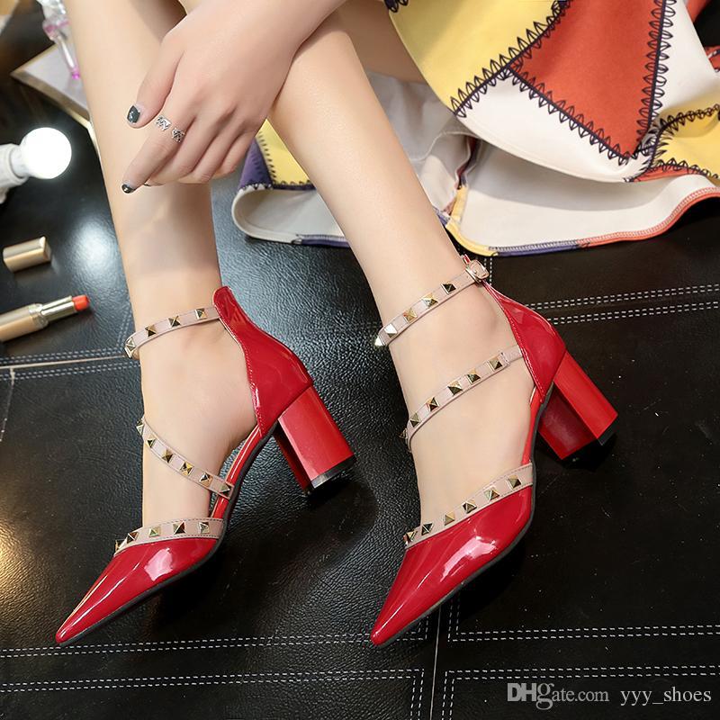 Compre Sandalias Elegantes Boda Prom Party Womens Shoes Punta Estrecha Tacones  Altos Ladies Dance Dress Talón Zapato 6 Cm Hebilla Correa Hebilla De La ... f87e9946b05b