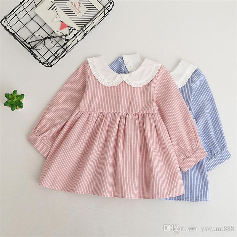 Hot Selling NEW Arrival Summer Girls Long Sleeve Dress High Quality Cotton Baby Kids Plaid Bow Dress
