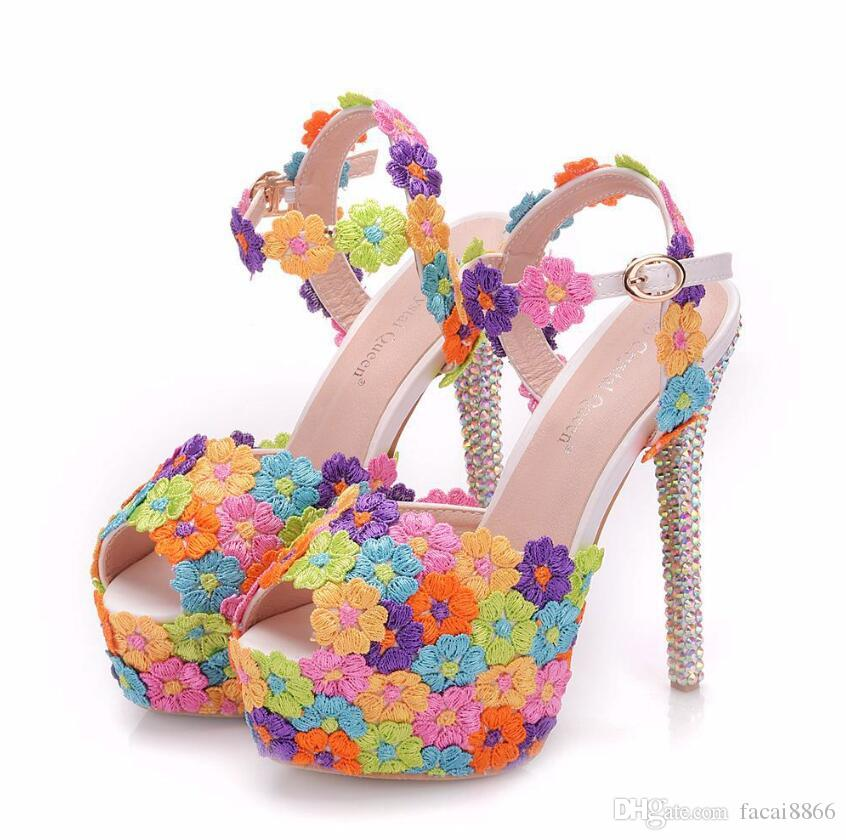 1bca263fb4f320 Multicolor Flower Shining Crystal Womens Wedding Shoes 14CM Crystal Thin High  Heels Female Sandals Dress Shoes Sandals High Heels Pumps Online with ...