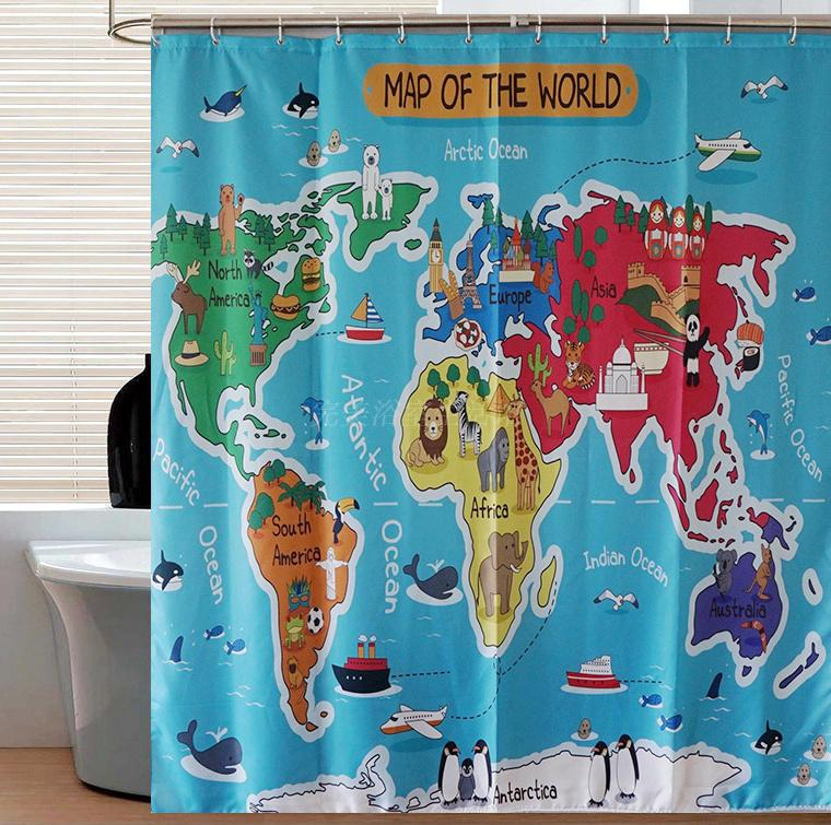 2018 cartoon animal world map curtains hd digital printing polyester 2018 cartoon animal world map curtains hd digital printing polyester waterproof shower curtain creative gift for kids from williem 3461 dhgate gumiabroncs Choice Image