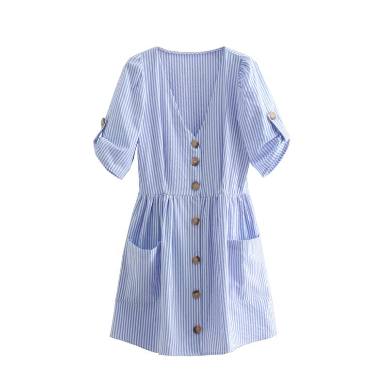 3718087cd Compre Vestido De Bolsillo Grande Con Rayas Verticales Azules Para Mujer  Vestido Con Cuello En V Sexy Con Cuello En V Decoración 2018 Vestido De  Playa De ...